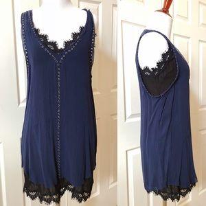 UO Layered Sleeveless dress set, lace trim, size S